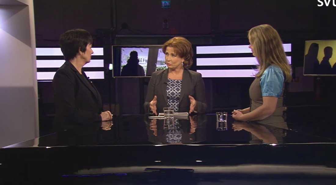 Mona Sahlin, programledaren Anna Hedemo och Lotta Edholm.