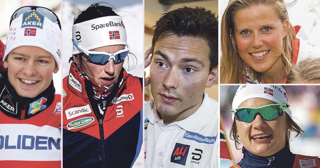 Sjur Röthe (t.v.), Marit Björgen, Finn Hågen Krogh, Kari Övre Sling och Maiken Caspersen Falla har olika syn på astmamedicinen.
