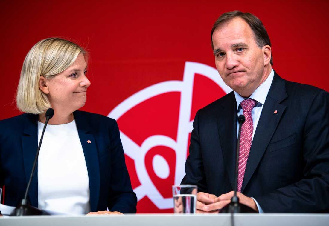 Finansminister Magdalena Andersson (S) och statsminister Stefan Löfven (S).