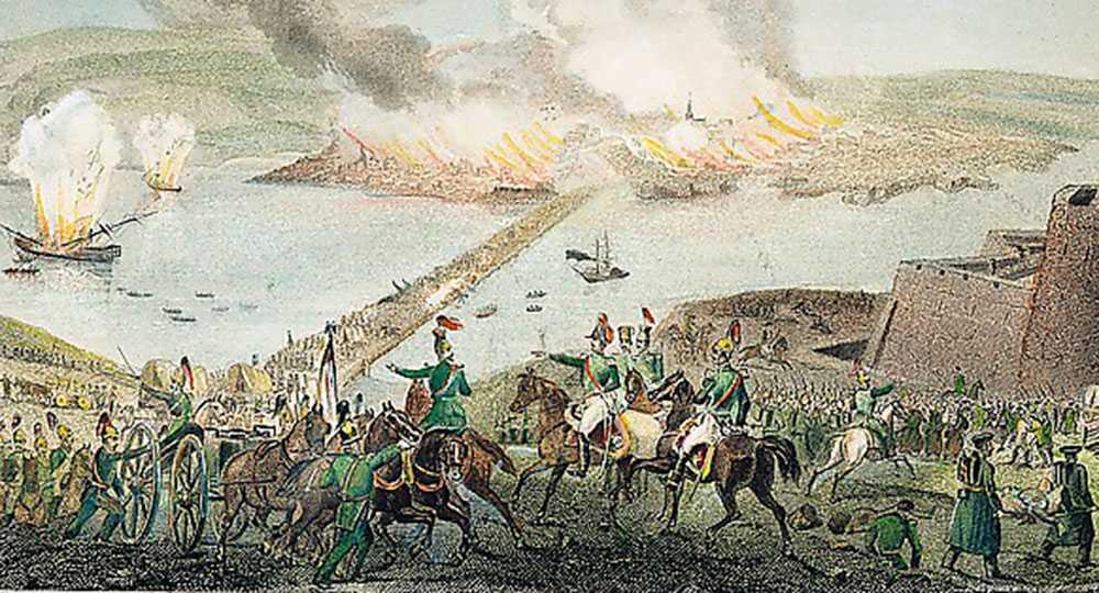 En samtida bild skildrar evakueringen av Sevastopol.