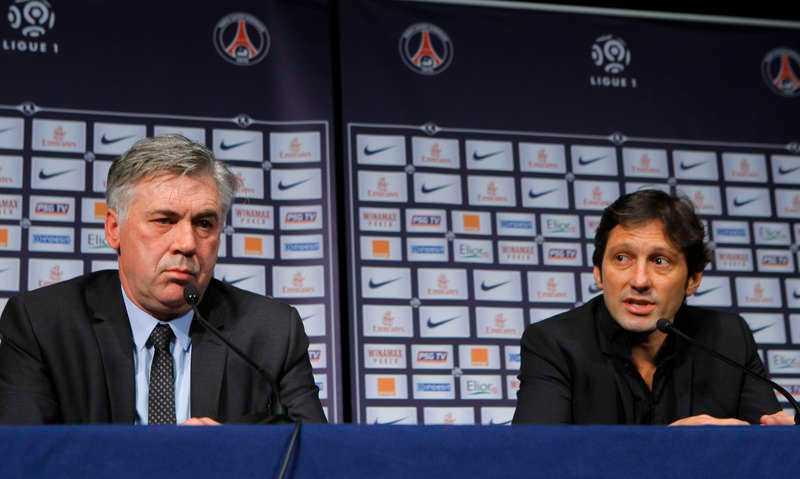 Tränaren Carlo Ancelotti och sportdirektören Leonardo.