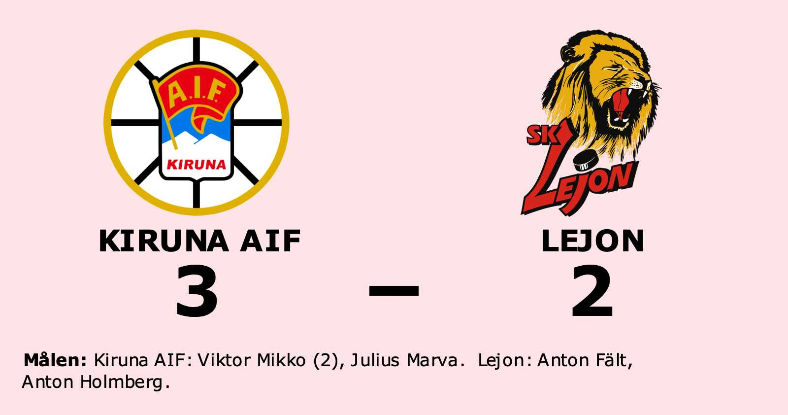 Seger för Kiruna AIF hemma mot Lejon