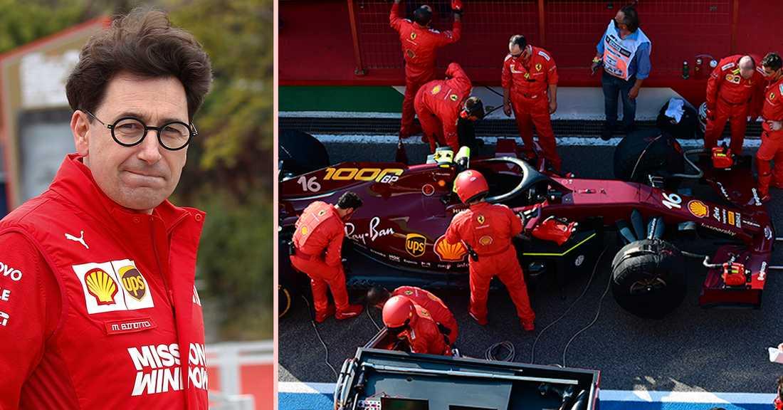 Mattia Binotto (t.v.) och Ferrari-teamet under senaste tävlingen.