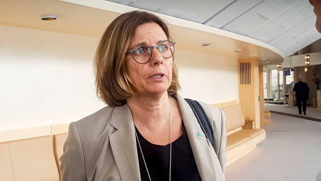 Vice statsministern, miljö och klimatminister Isabella Lövin (MP), tycker det är olyckligt att de borgerliga partierna inte vill skriva under försvarsberedningens rapport.
