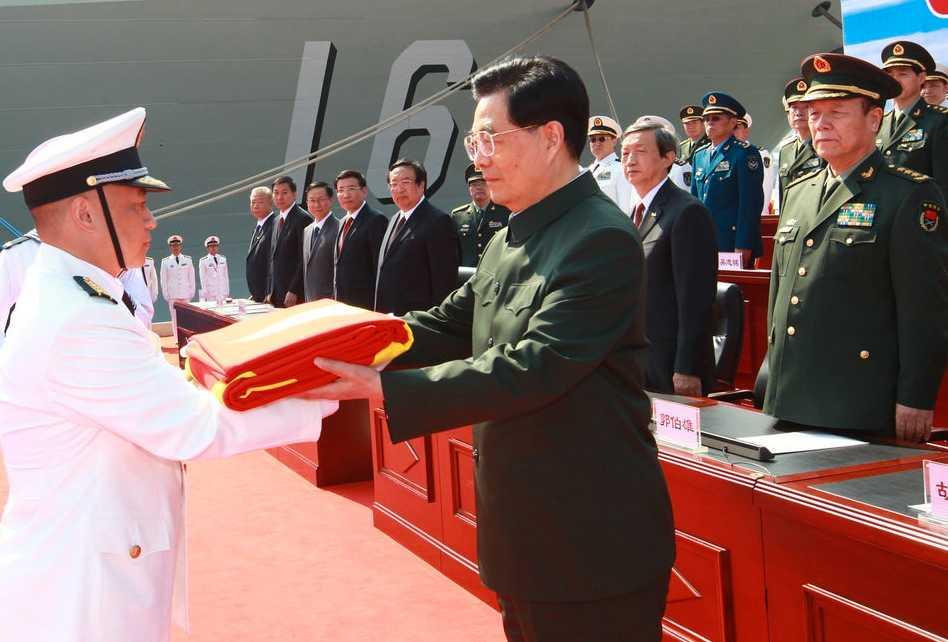 Kinas president Hu Jintao under en ceremoni.