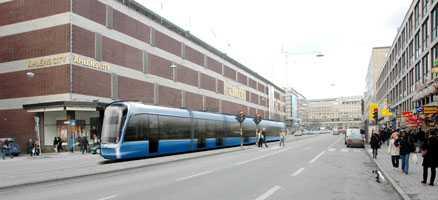 2010 ska man kunna åka spårvagn från Norrmalmstorg till Centralen. (OBS! Bilden är ett montage.)