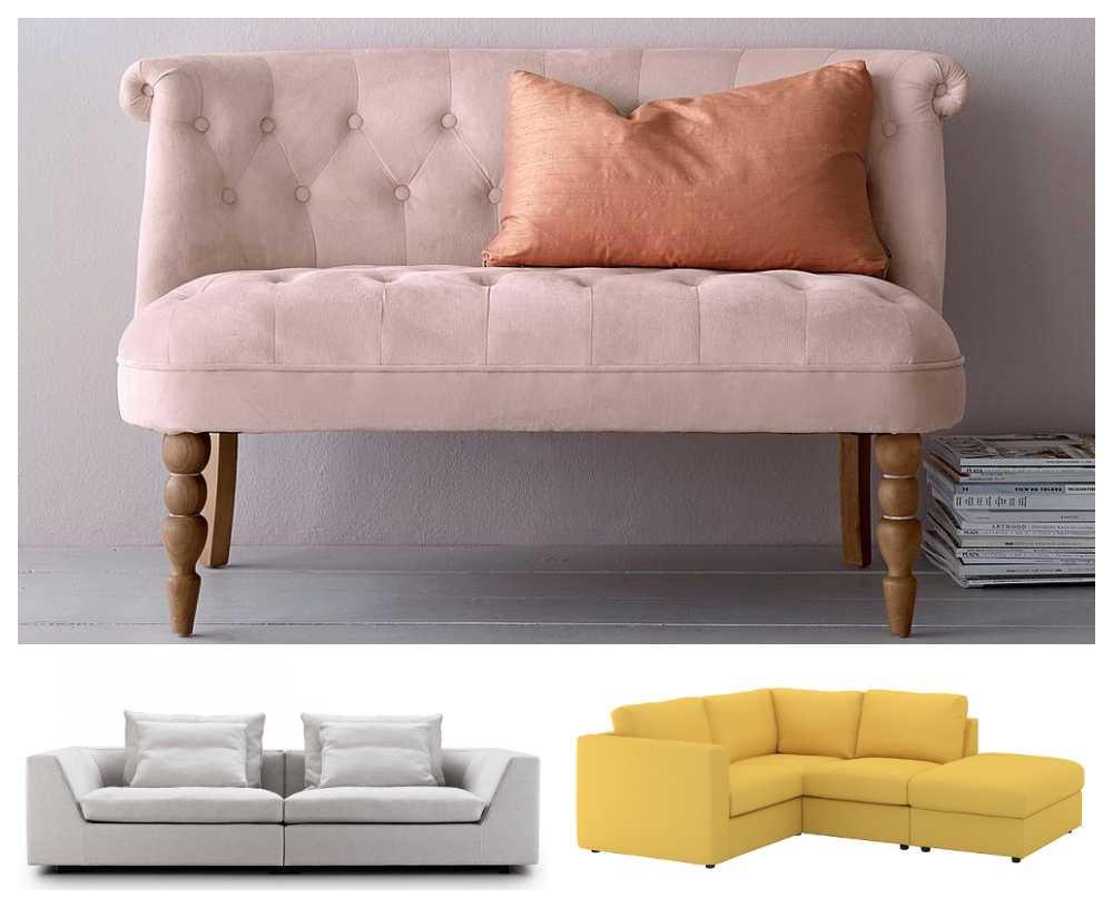 """Nätta """"Mystiq"""", 2 999 kr, Ellos. Lyxiga soffan """"Chess"""" från Länna möbler 50 440 kr och praktiska """"Vimle"""", 7 390 kr, Ikea."""