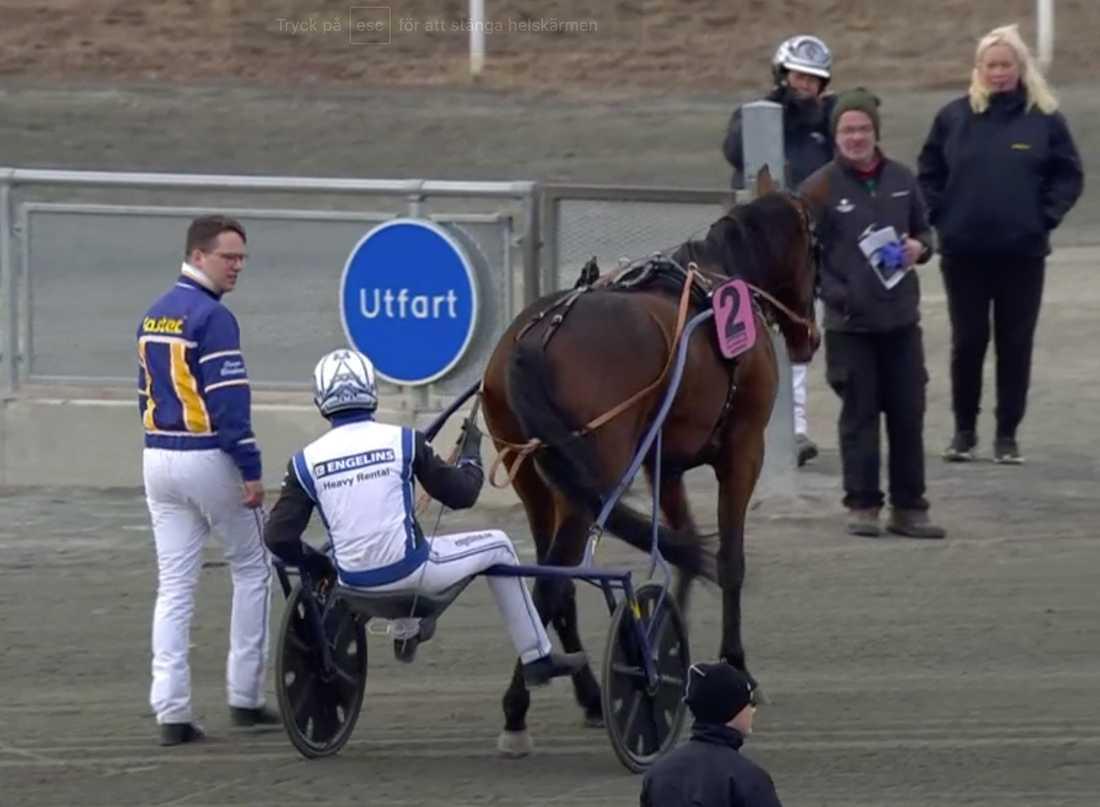 Tränaren Oscar Berglund, kusken Magnus A Djuse och Pleasure for Cash.