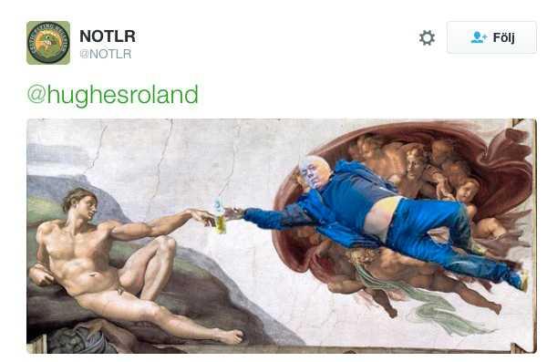 """Och titta hur fint mannen i blått passar in som själva Gud i Michelangelos """"Skapelsen"""" i Sixtinska kapellet."""