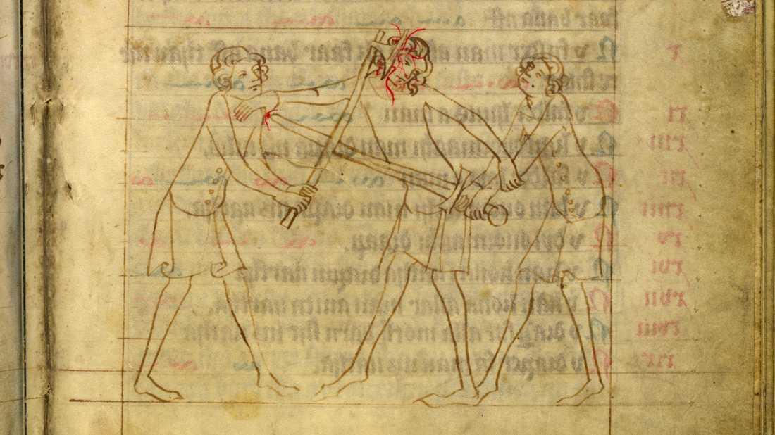 Vådadråpsscen. Magnus Erikssons landslag med balkar ur Yngre Västgötalagen (1375–1400).