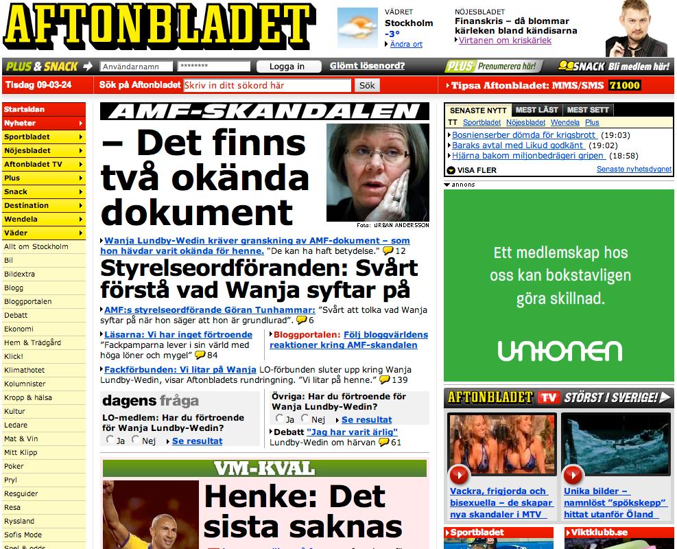 Aftonbladet 2009.