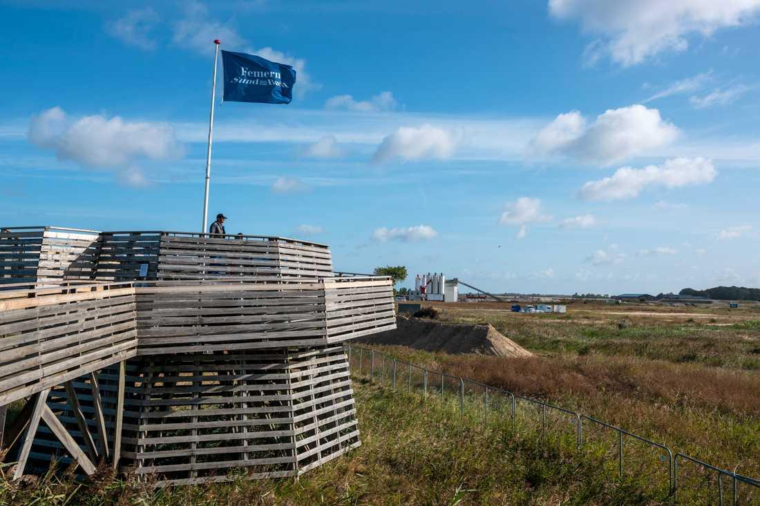 Informationstorn i Rødbyhavn i Danmark, där förberedelserna inför bygget av tunneln under Fehmarn bält pågår.