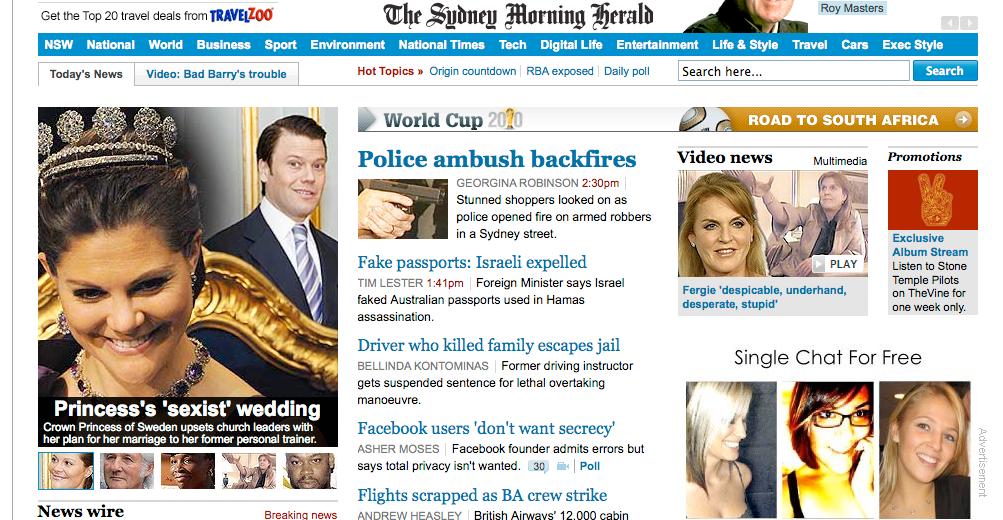 Skärmdump från den australiska tidningen Sydney Morning Herald