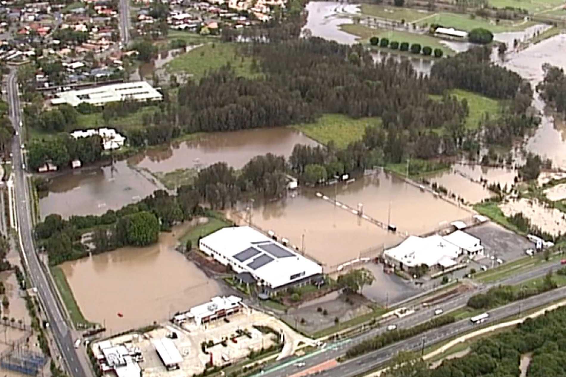Översikt över den översvämmade Guldkusten, Australien