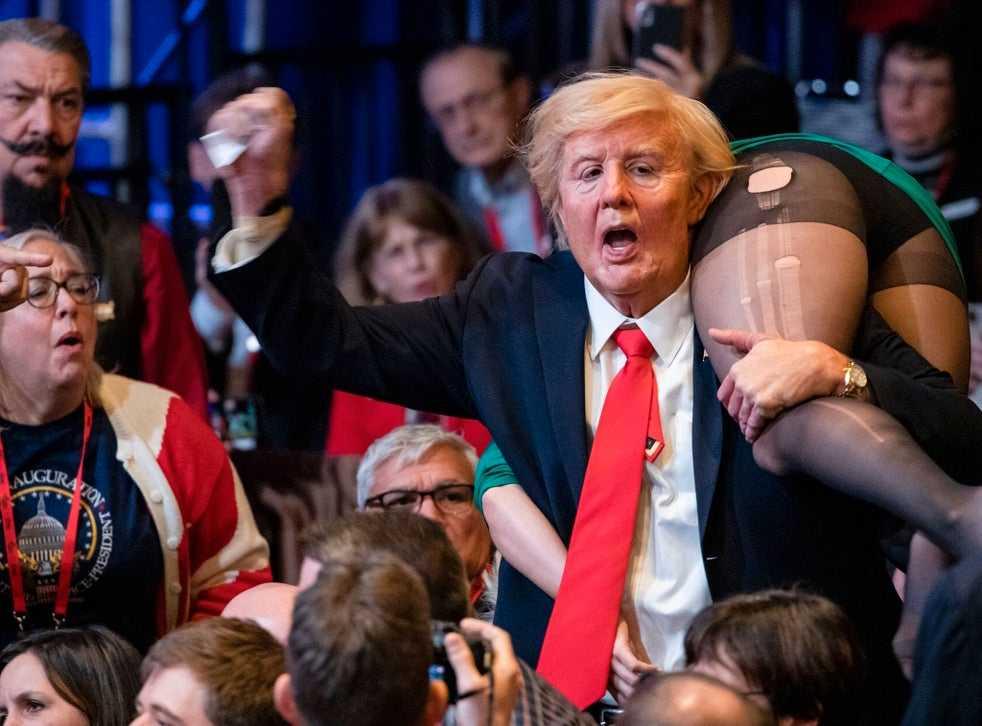 "Sacha Baron Cohen förklädd till Trump i ""Borat subsequent moviefilm""."