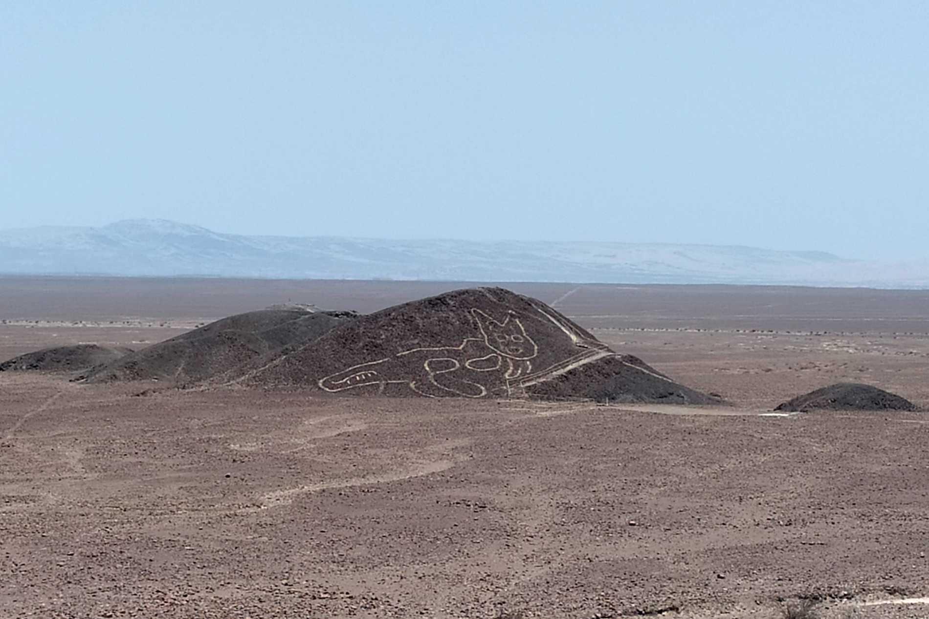 Historiska platsen Nazca i Peru, ett område med gruvfyndigheter. Arkivbild.