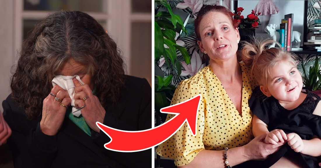 Helene Cederroth brast ut i tårar när hon fick en hälsning av Tina Cangemark och dottern Liv.
