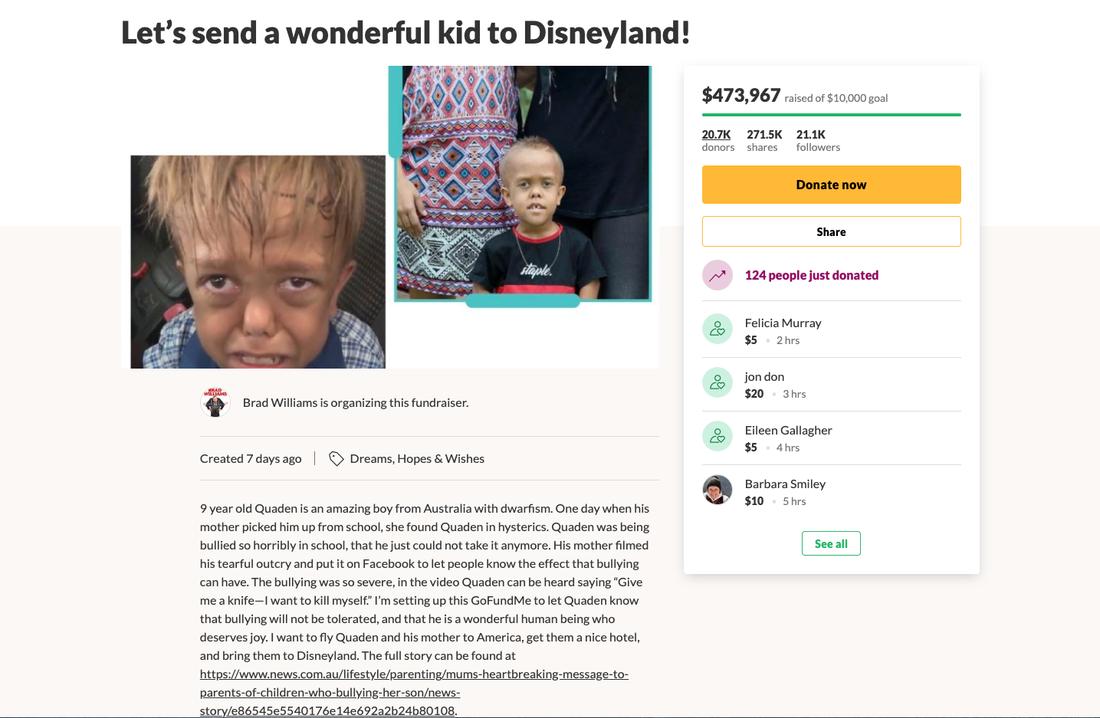 """Komikern Brad Williams har namngett insamlingen """"Låt oss skicka detta fantastiska barn till Disneyland""""."""