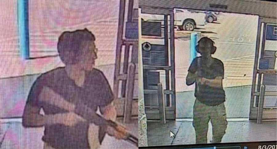 Övervakningsbilder på den misstänkte skytten vid shoppingcenter i El Paso, Texas.