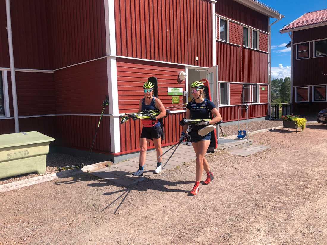 Skidskytten Stina Nilsson på plats i Torsby, samtidigt som skidlandslaget tränar.