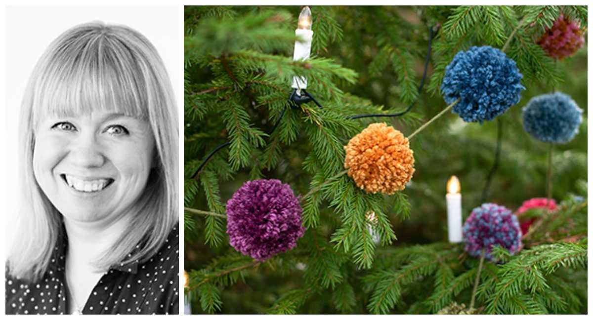 Helena Schader Söderberg visar hur du göra pompomgirlanger.