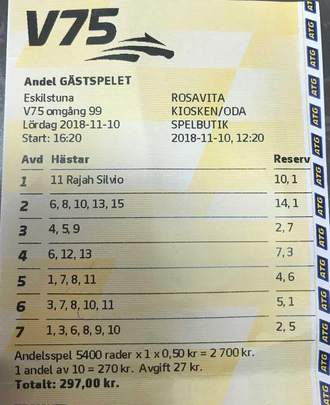 Det vinnande andelssystemet i butiken. Oda slog även till via ATG Tillsammans. Totalt spelade de in mest pengar i Sverige på V75 i lördags.