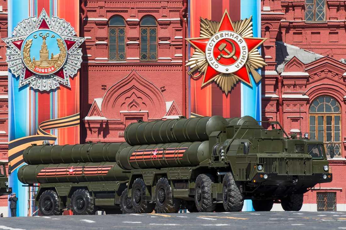 Enheter ur det ryska luftvärnssystemet S-400 under en militärparad i Moskva. Arkivbild.