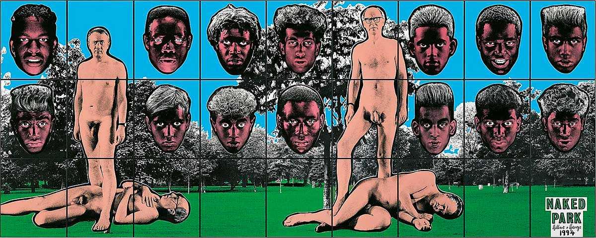 "Gilbert & George, ""Naked park"", 1994."