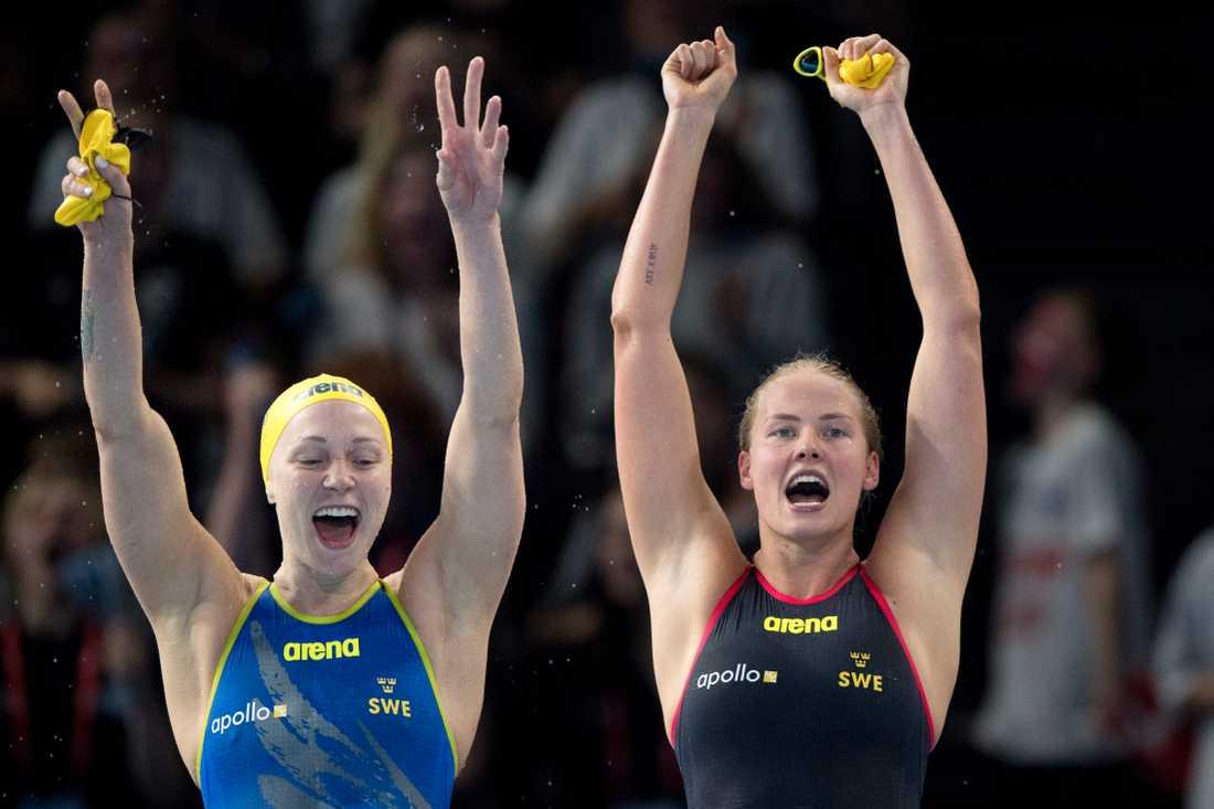 Sarah Sjöström och Michelle Coleman, bilden, är med i höstens International swimming league tillsammans med Louise Hansson. Arkivbild.