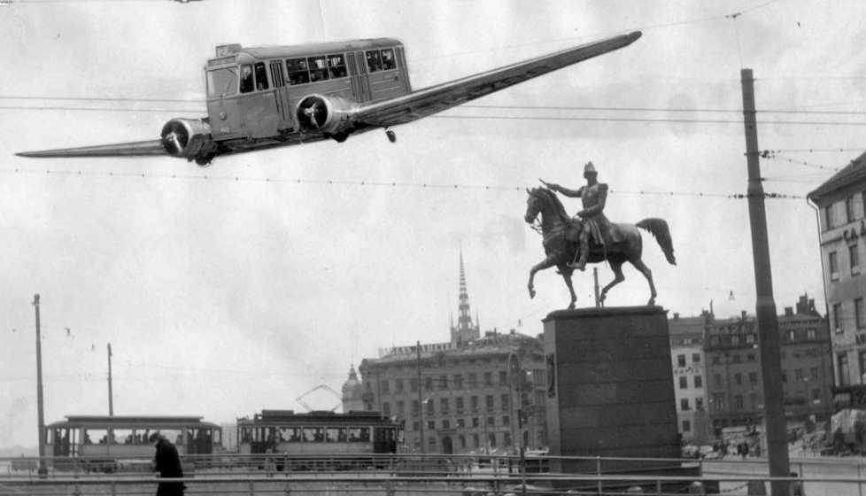 Aprilskämt 1950 Spårvagnsflyget skulle gå i centrala Stockholm.