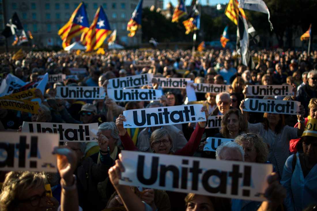 Massiva manifestationer för katalansk självständighet genomfördes i Barcelona på onsdagen, dagen då man firar sin katalanska nationaldag.