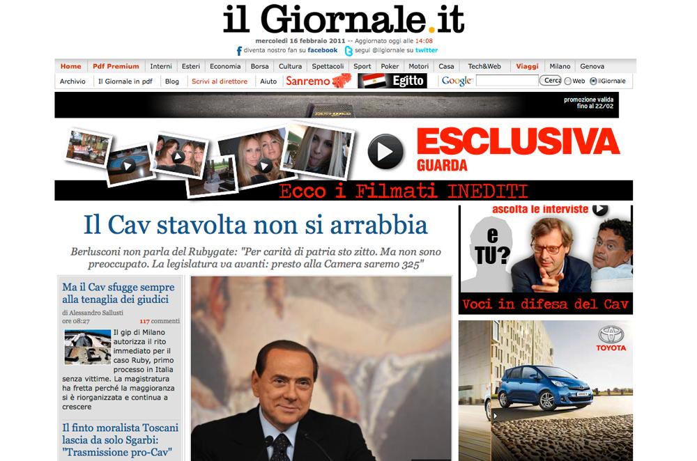 """För Berlusconi Den stora tidningen Il Giornale avporträtterar en leende, mild Berlusconi och kallar honom """"Riddaren""""."""
