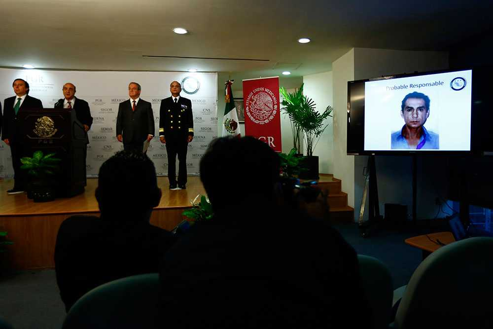 Polisens presskonferens i Mexiko City.