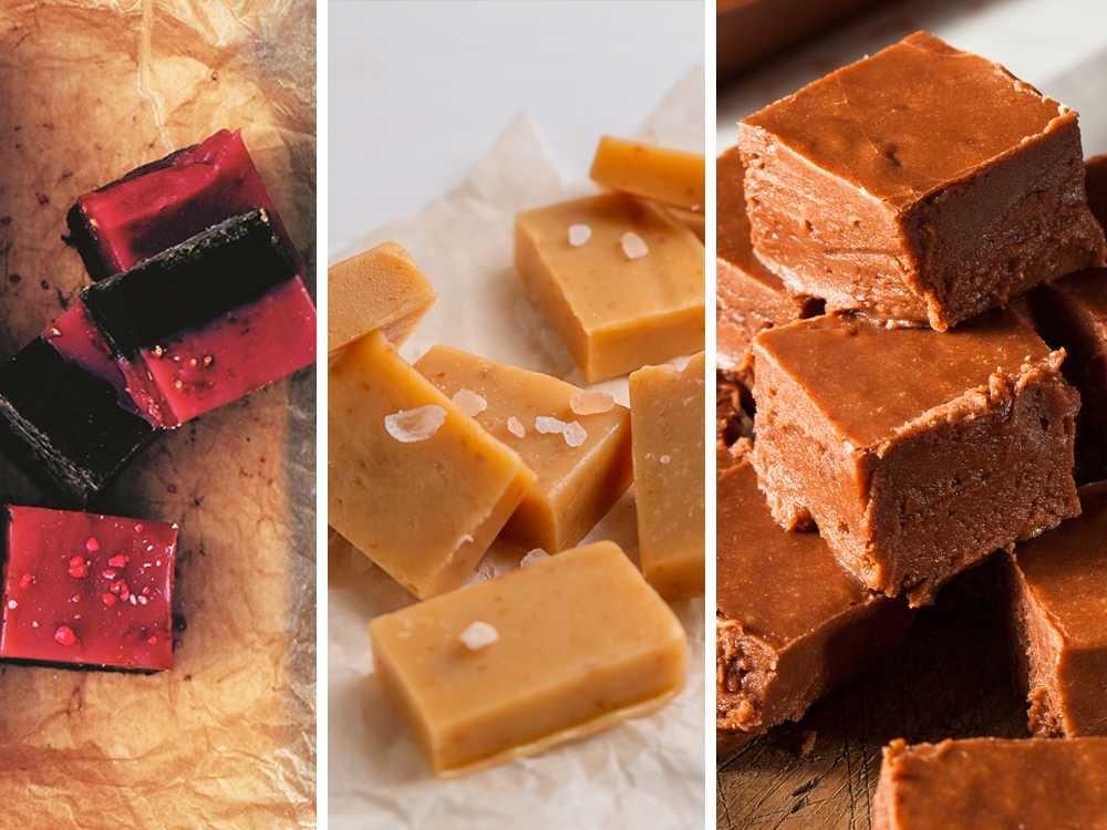 Hallon- lakritsfudge, vaniljfudge, chokladfudge