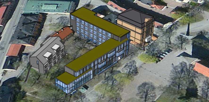 Kommunens 3D-modell framtagen inför samråd av detaljplanen.