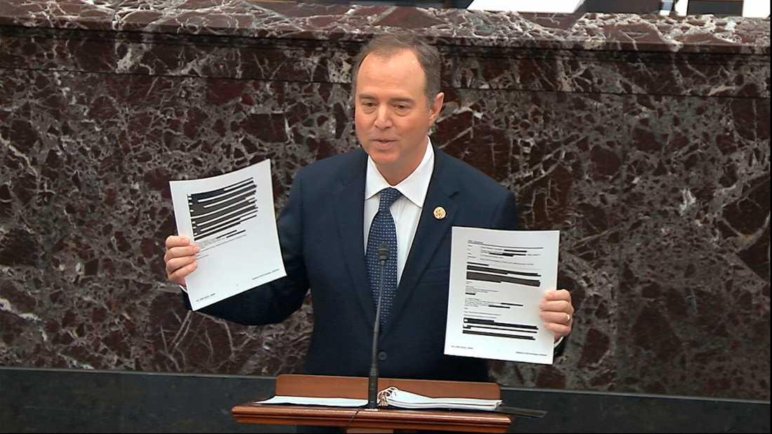 Kaliforniendemokraten Adam Schiff, till vardags ordförande i representanthusets underrättelseutskott, i senaten.