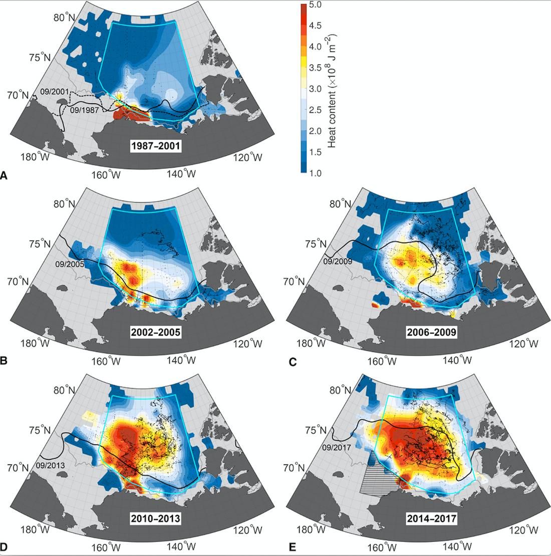 Bilden visar värmenivån i det Arktiska havet från 1987 - 2017.