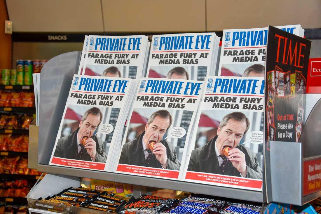 Brexitpartiets ledare Nigel Farage älskas av många britter – men är samtidigt djupt ogillad av andra. Och satirtidningarna, som exempelvis Private Eye, älskar att driva med honom.