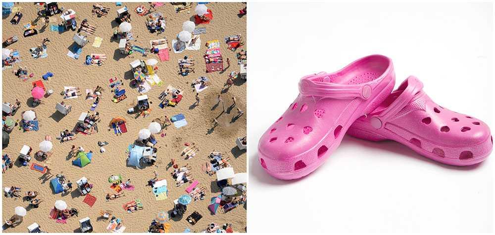 Känner du igen en svennebanan på stranden? Foppatofflor och solhatt är typiskt svenskt.