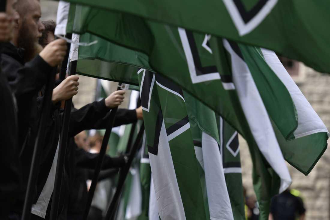 NMR höll under lördagen en olaglig demonstration i Vänersborg. Arkivbild.
