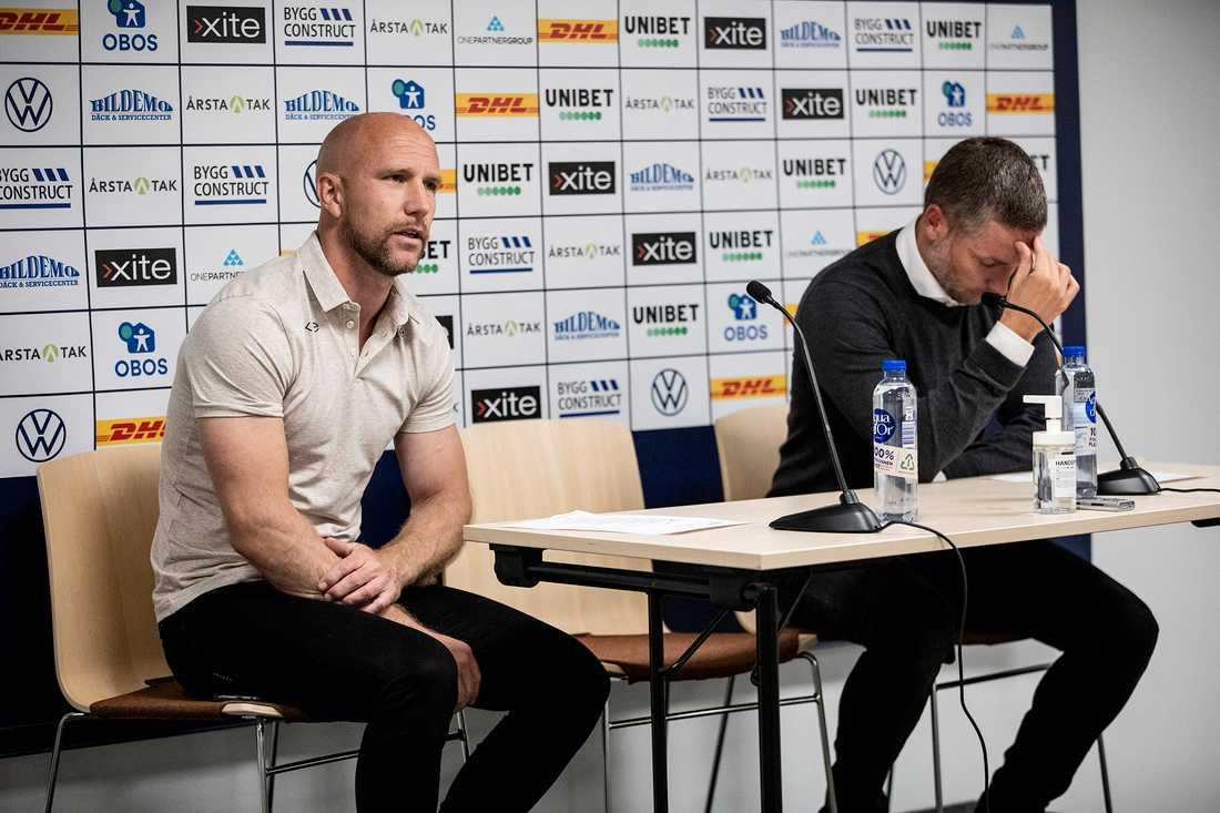 Henrik Rydström, Sirius tränare, och Axel Kjäll, Örebros tränare, efter matchen.