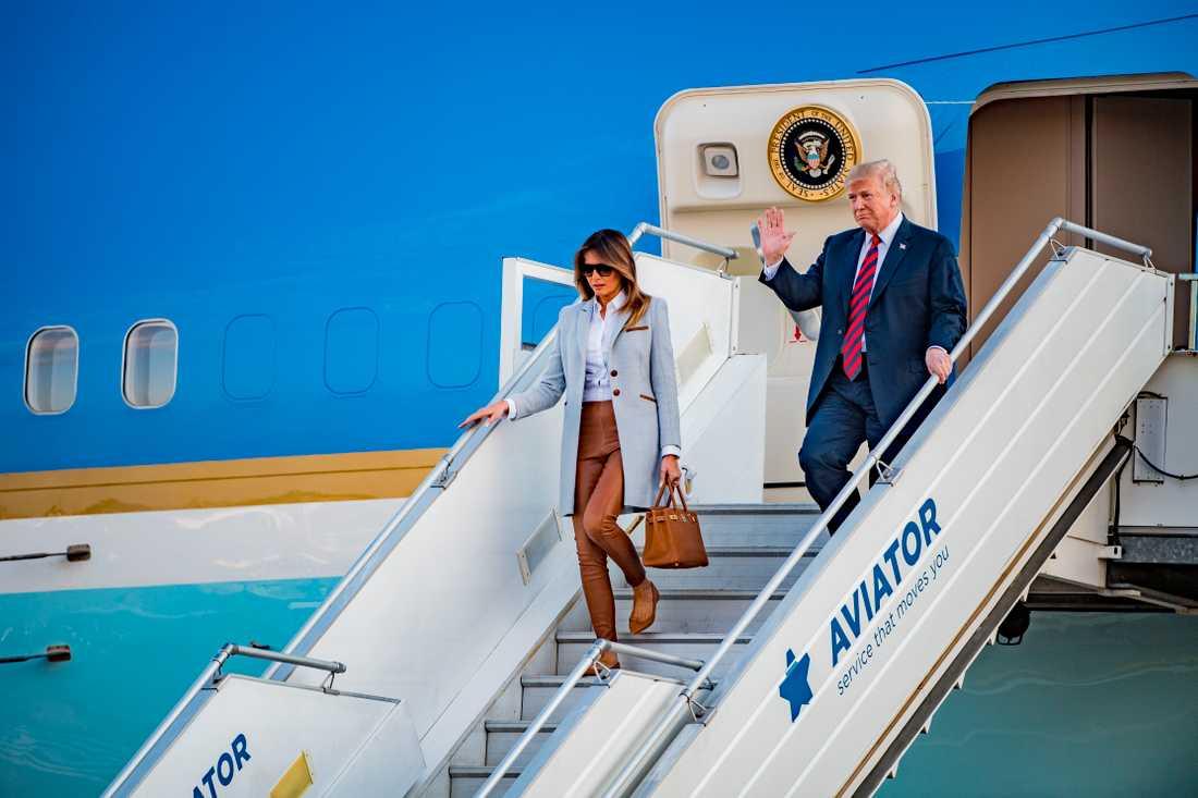 Här landade Donald och Melania Trump.