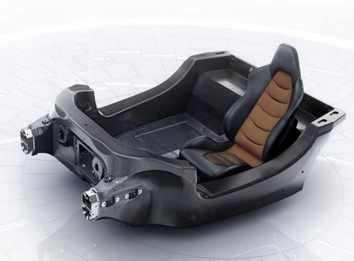 Stommen i bilen är en kolfiberbalja.