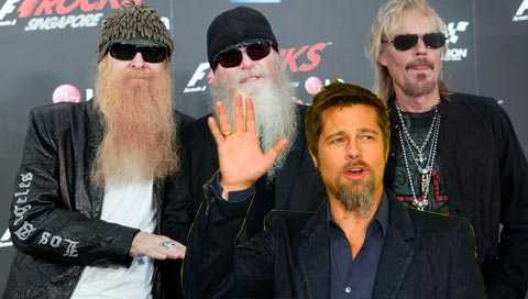 Ny medlem i bandet? ZZ Top kanske har inspirerat Brad Pitt till sin nya skäggfrisering – tre små flätor. OBS! Bilden är ett montage...