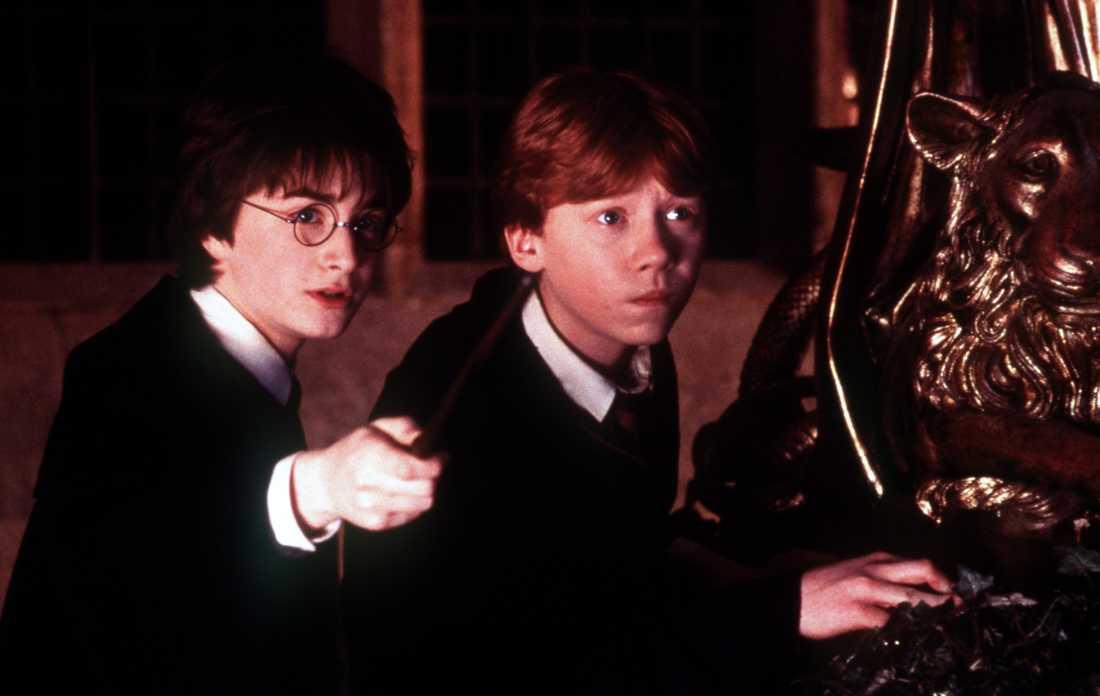 Harry och Ron, från den första filmatiseringen av Harry Potter-böckerna.