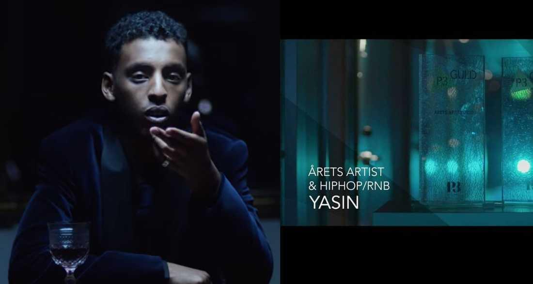 """Yasin vann pris som """"Årets artist"""" på P3 Guld."""