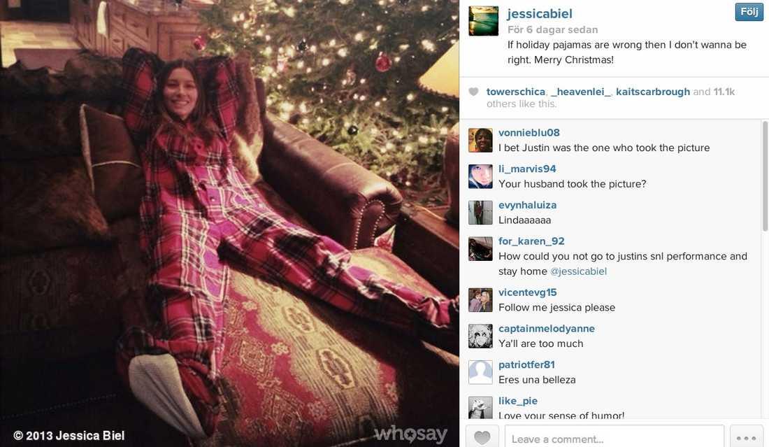 Jessica Biels Instagrambild från julhelgen fick fans att undra var maken Justin Timberlake höll hus.