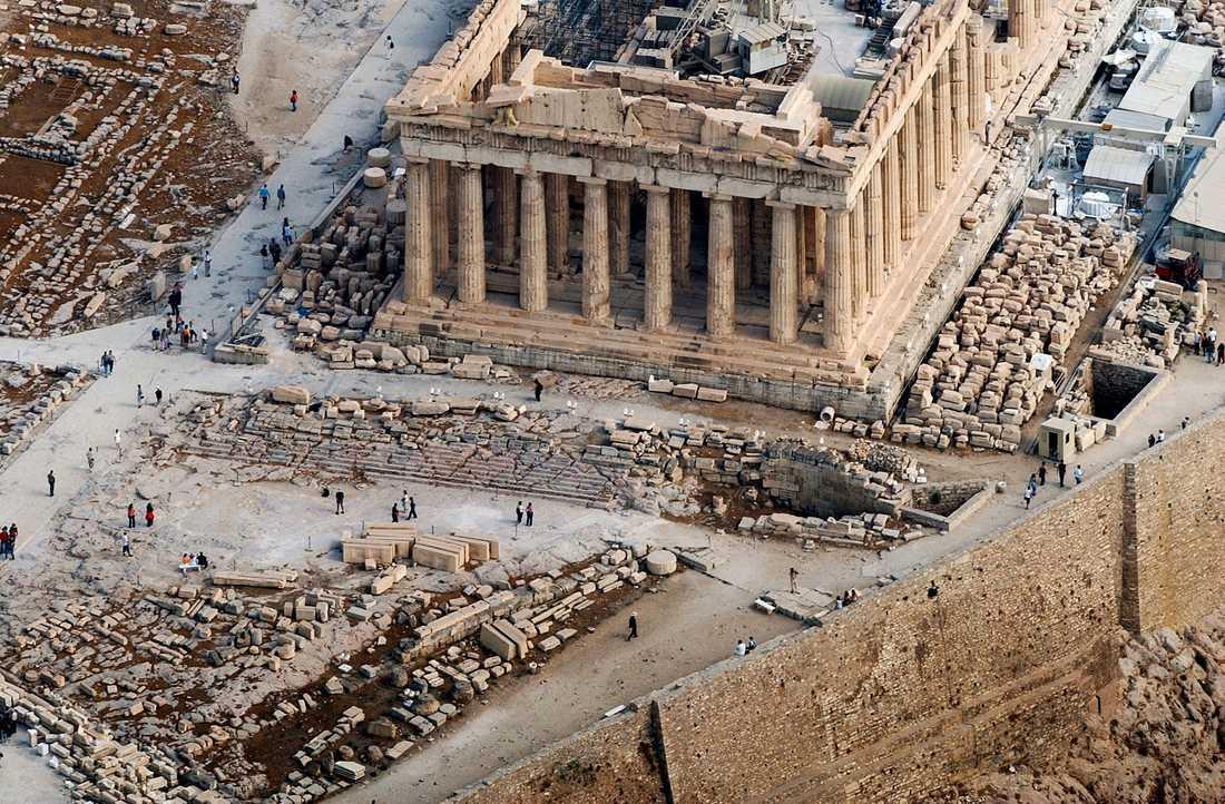 Templet Parthenon, på Akropolis i Aten, började byggas 447 fKr. I dag ett världsarv. Men finns det tid för det antika Grekland i historieämnet? Arkivbild.