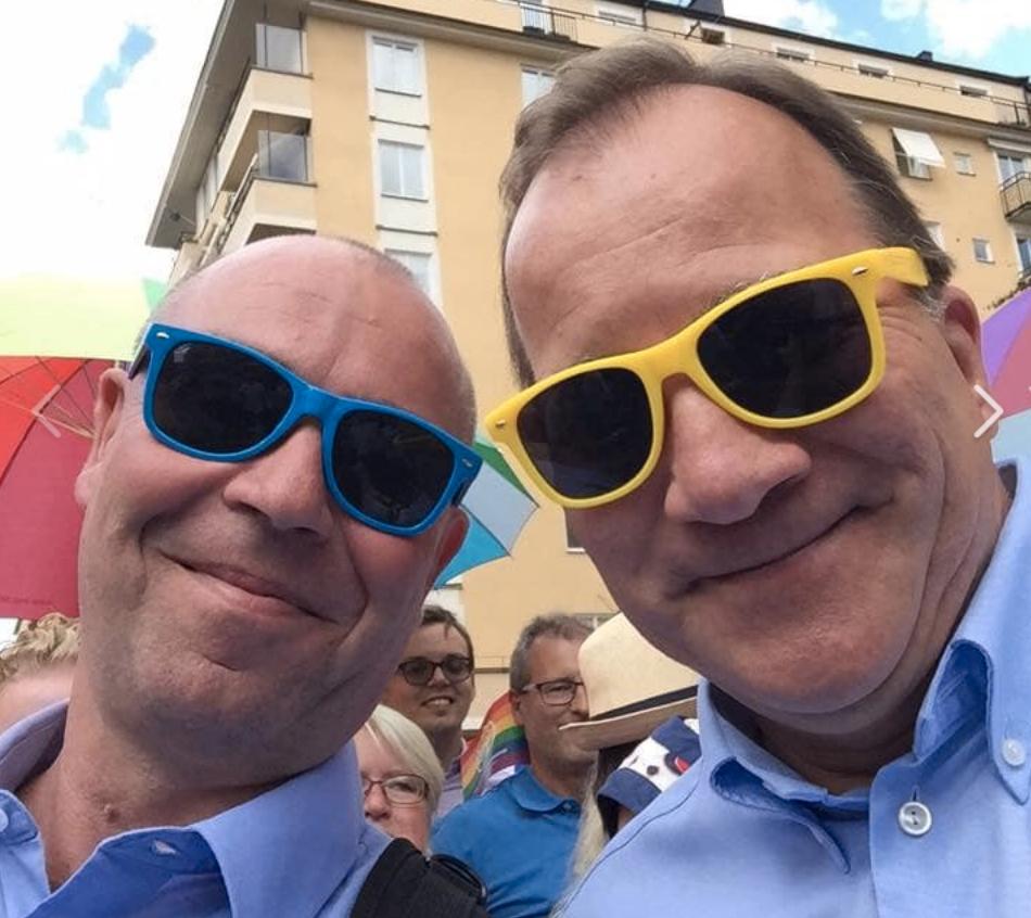 Avgående facktoppen Jonas Wallin tillsammans med statsminister Stefan Löfven.