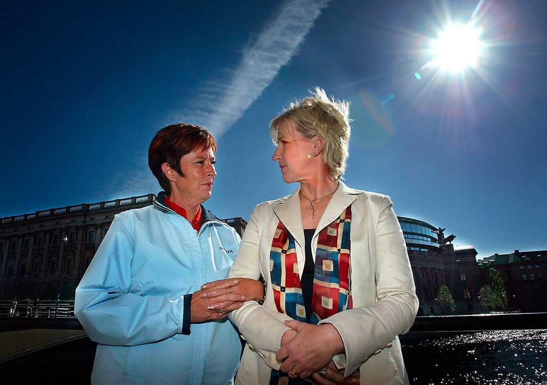 Mona Sahlin och Margot Wallström på en bild tagen under en intervju om Anna Lindh, ett år efter hennes död.